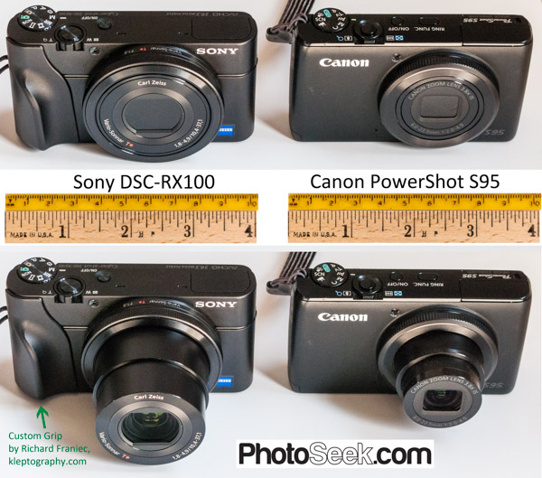Pocket-sized wonders: Compare camera lens and size of Sony DSC-RX100 (left) versus Canon PowerShot S95.